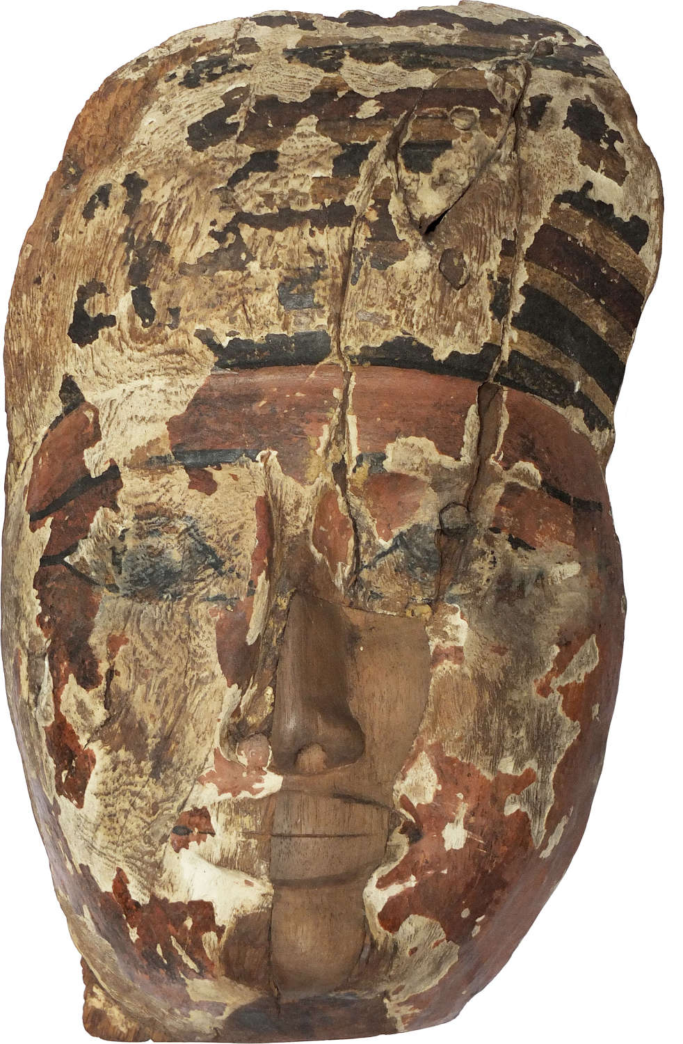 A large and sensitively carved Egyptian wooden mummy mask