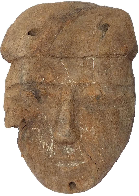 A good-sized Egyptian wooden mummy mask, c. 664-30 B.C.