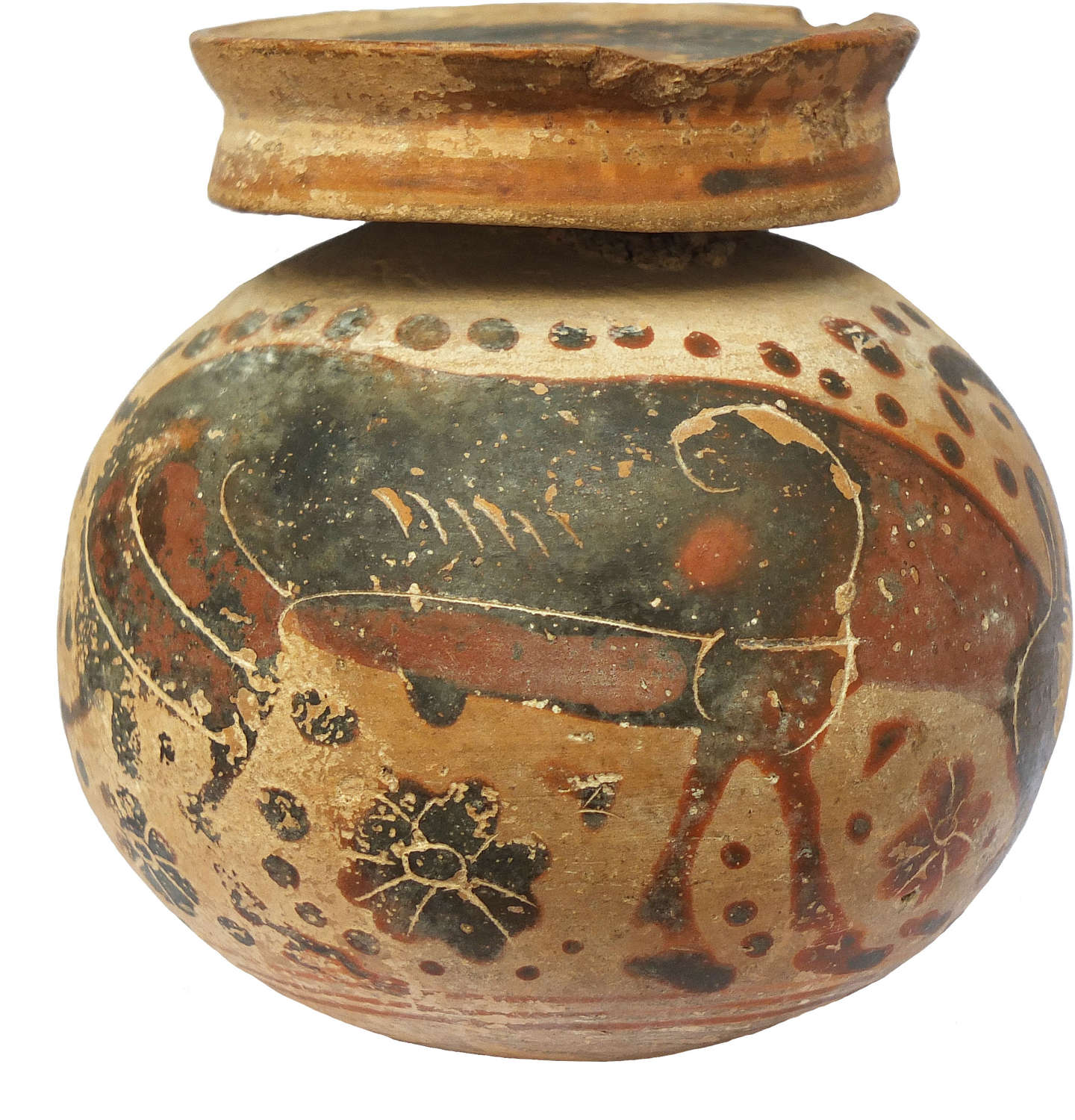 A Greek Corinthian aryballos decorated with a grazing stag