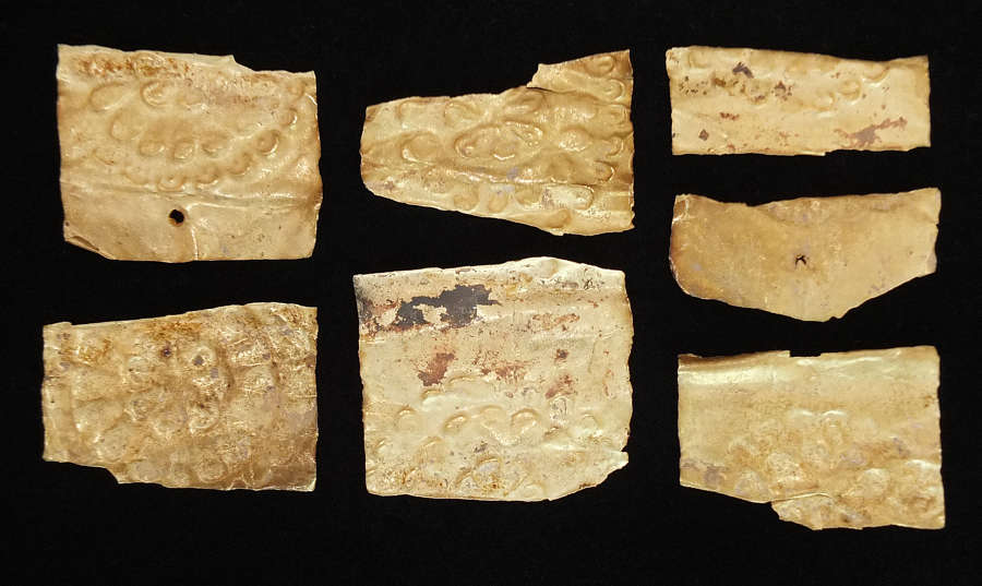 A group of seven Hellenistic sheet gold fragments