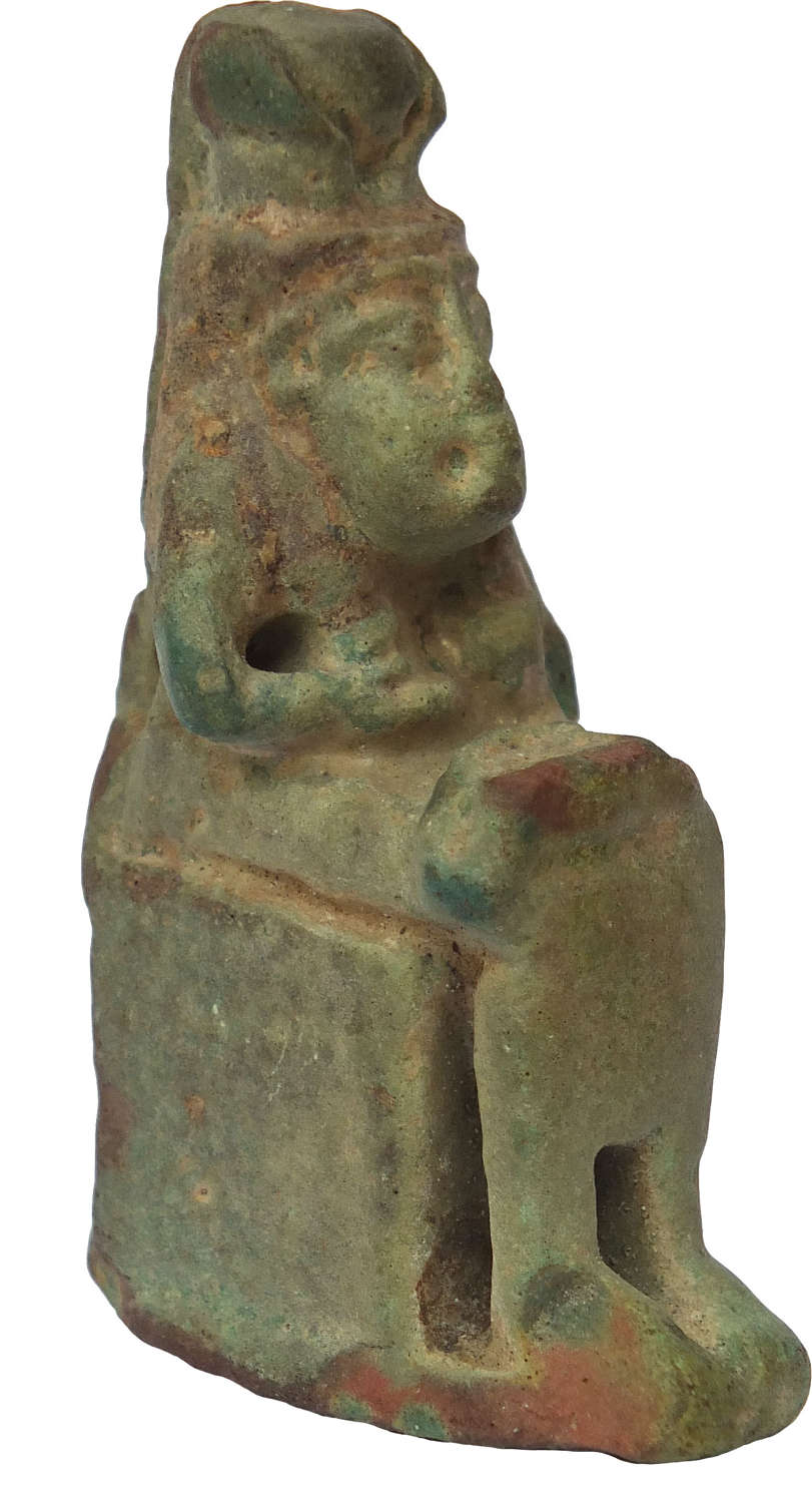 A sizeable Egyptian faience amulet of Isis suckling the infant Horus