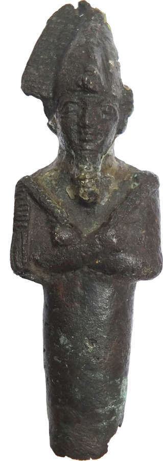 A small Egyptian bronze figure of Osiris, Late Period, c. 664-332 B.C.