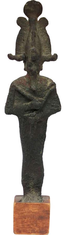 A good-sized Egyptian bronze figure of Osiris, c. 700-30 B.C.