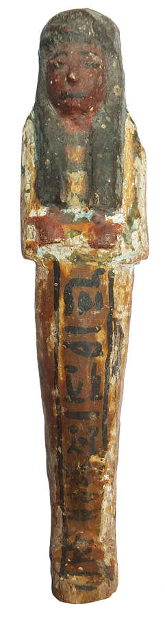 A good-sized Egyptian polychrome wooden ushabti for Sa-r-mer