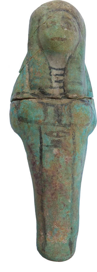 A good-sized Egyptian Ramesside faience ushabti, c. 1292–1069 B.C.