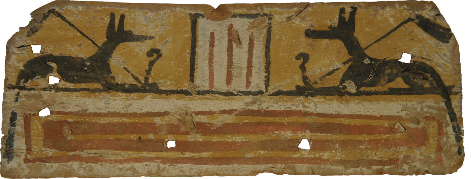 A polychrome coffin panel with mirror images of Anubis, c. 600 B.C.