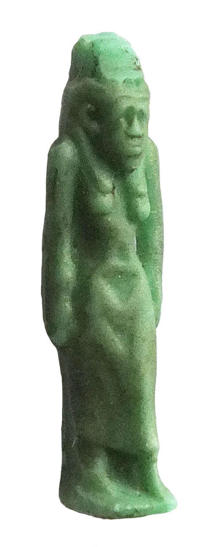 An Egyptian green glass amulet of a standing goddess, c. 600-300 B.C.