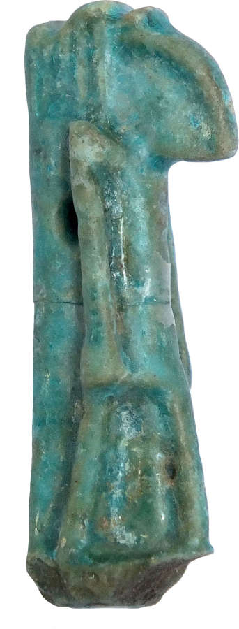 An Egyptian bright blue faience amulet of Thoth, 1st Millennium B.C.