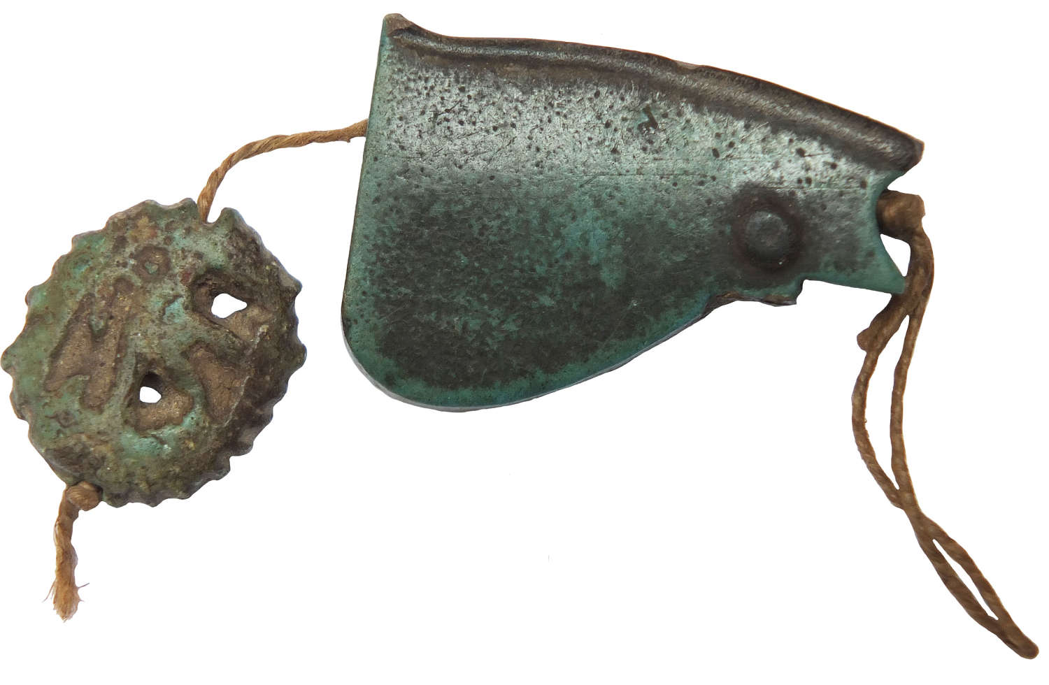 Two Egyptian faience Udjat Eye amulets, c. 600 B.C.