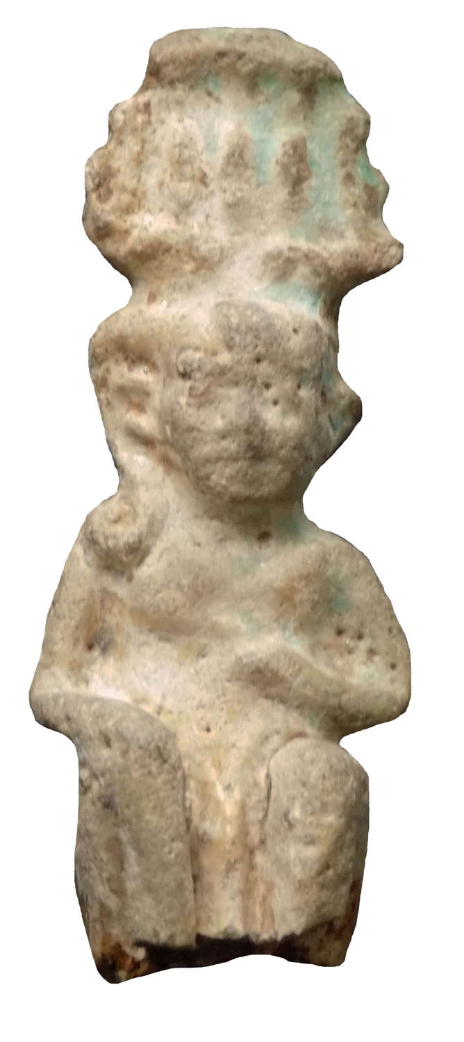An Egyptian faience amulet of Harpocrates, Late Period, c. 600 B.C.