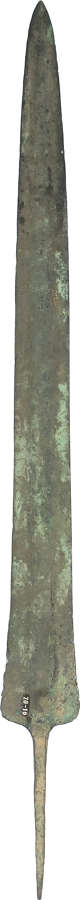 A Luristan tanged bronze spearhead of long slender form