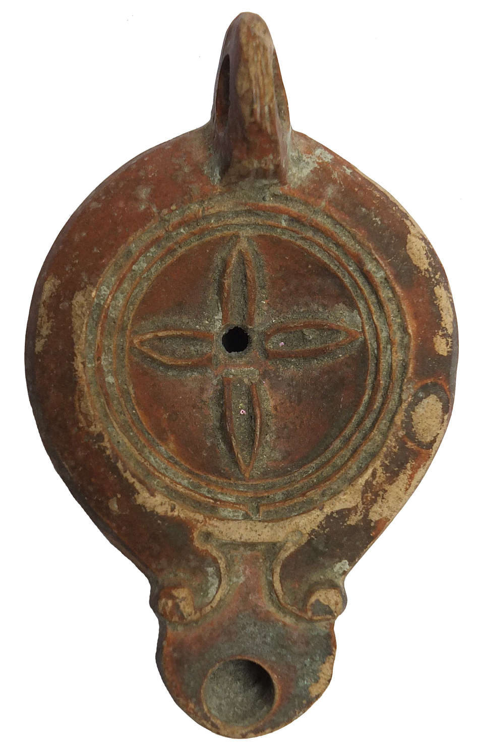 A Roman red-slipped oil lamp, c. 1st - 2nd Century A.D.