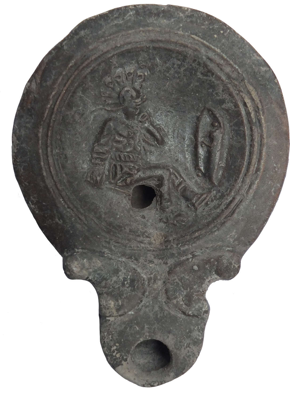 A good-sized Roman gladiator oil lamp, c. 1st Century A.D.