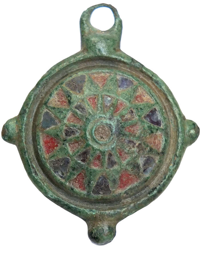 A Roman bronze umbonate disc brooch, c. 2nd Century A.D.