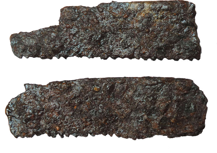 Two segments of a Roman iron saw, c. early 1st Millennium A.D.