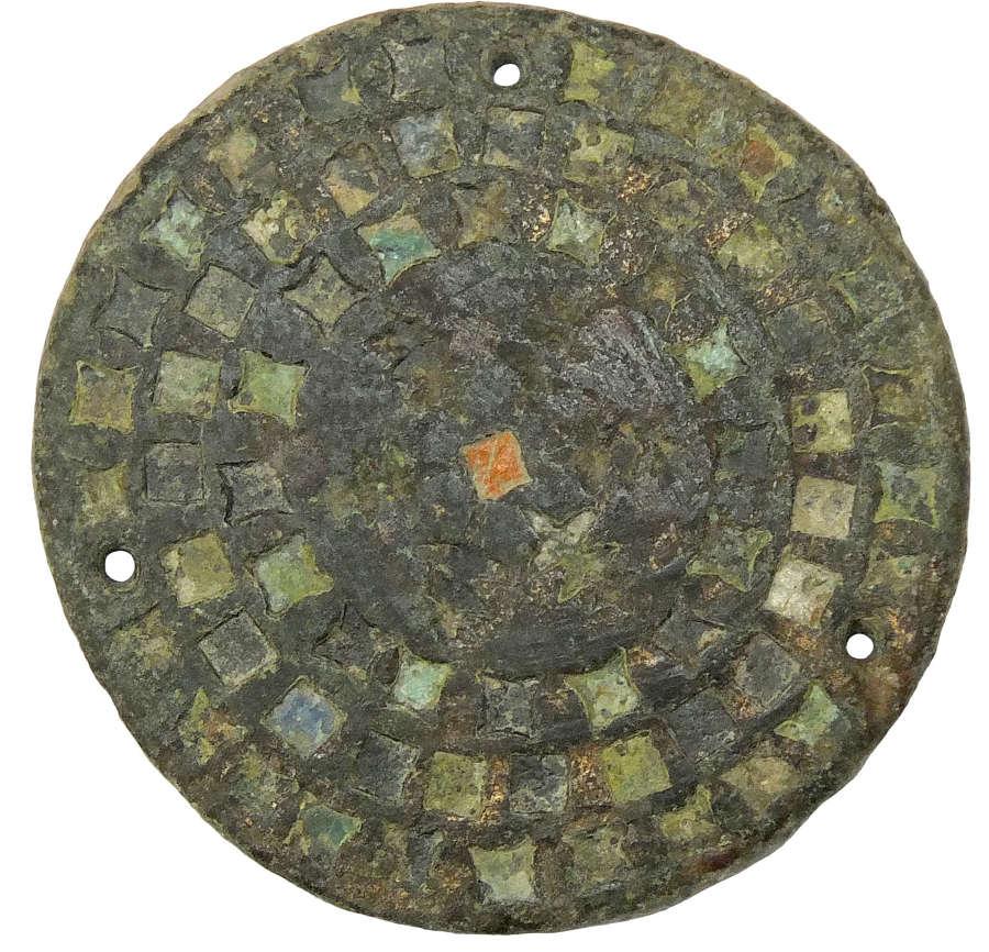 A Romano-Celtic circular bronze dress or harness fitting