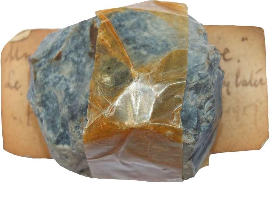 A flint unworked 'tortoise core' found near Folkestone, Kent