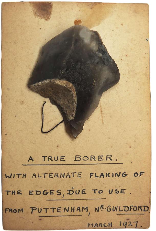 A Neolithic flint borer found at Puttenham, Surrey, in 1927