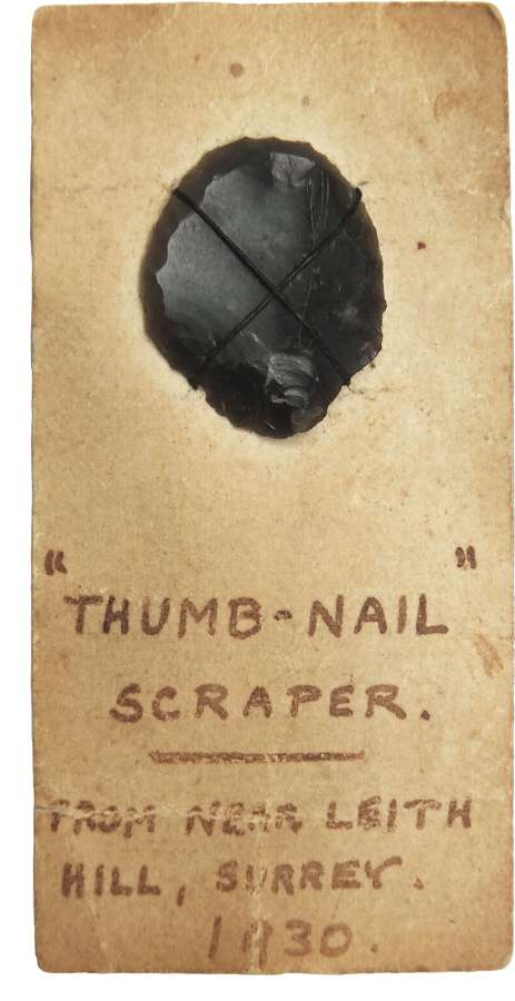 A Neolithic flint 'thumb-nail' scraper found in Surrey in 1930