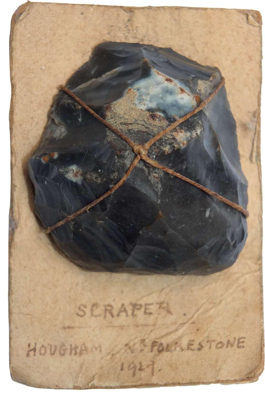 A Neolithic flint scraper found near Folkestone, Kent, in 1929