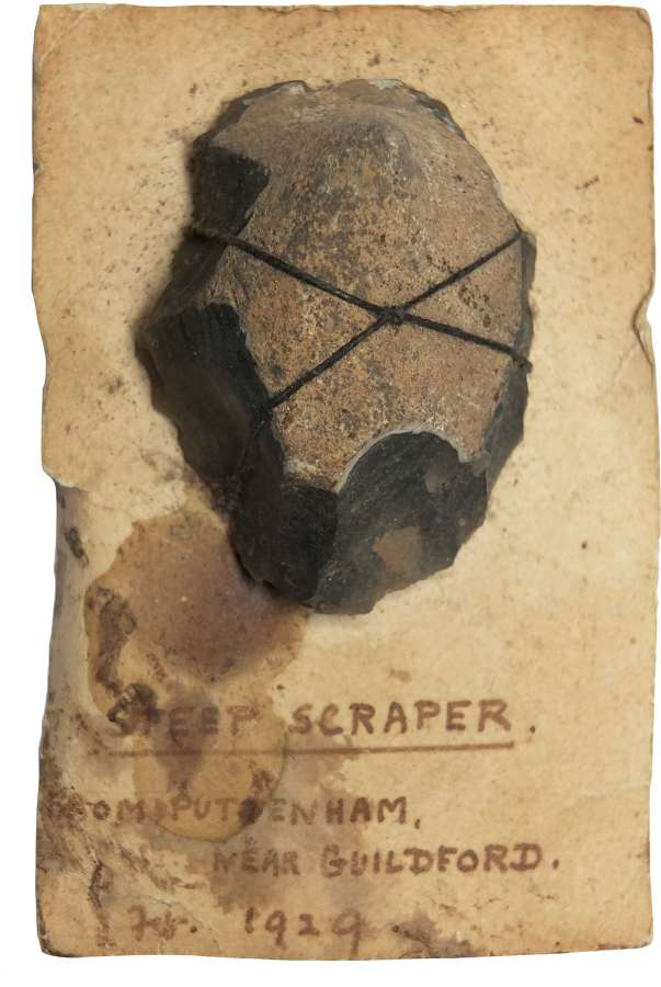 A Neolithic flint scraper found near Guildford, Surrey, in 1929
