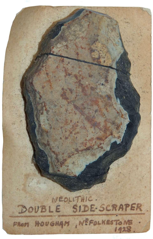 A Neolithic flint sidescraper found near Folkestone, Kent, in 1928