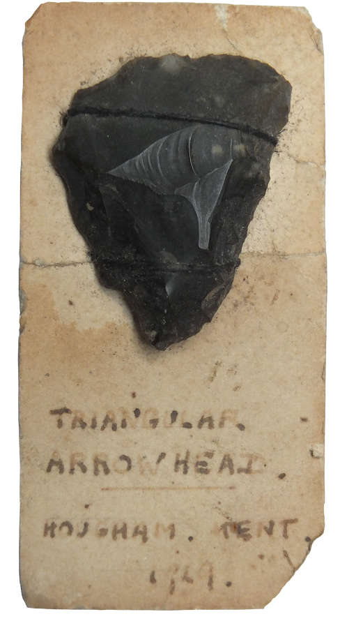 A good-sized Neolithic flint transverse arrowhead