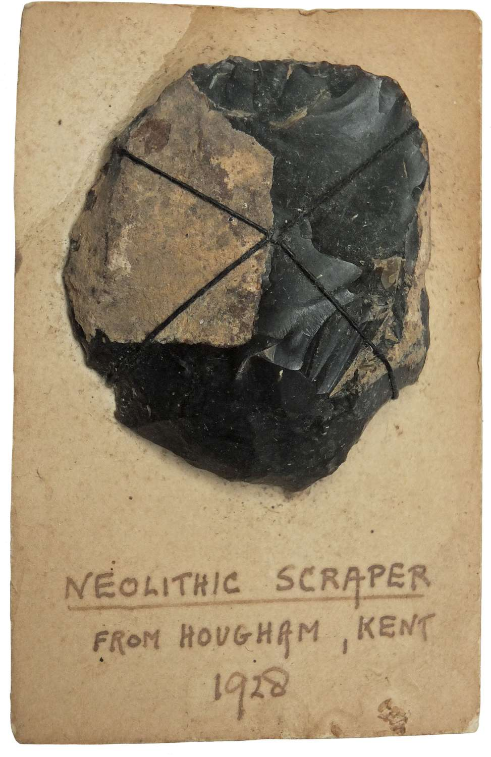 A Neolithic flint scraper found at Hougham, near Dover, Kent, in 1928