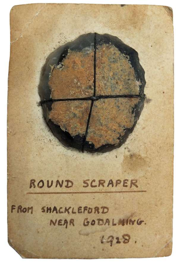 A Neolithic flint scraper found at Shackleford, near Godalming, Surrey