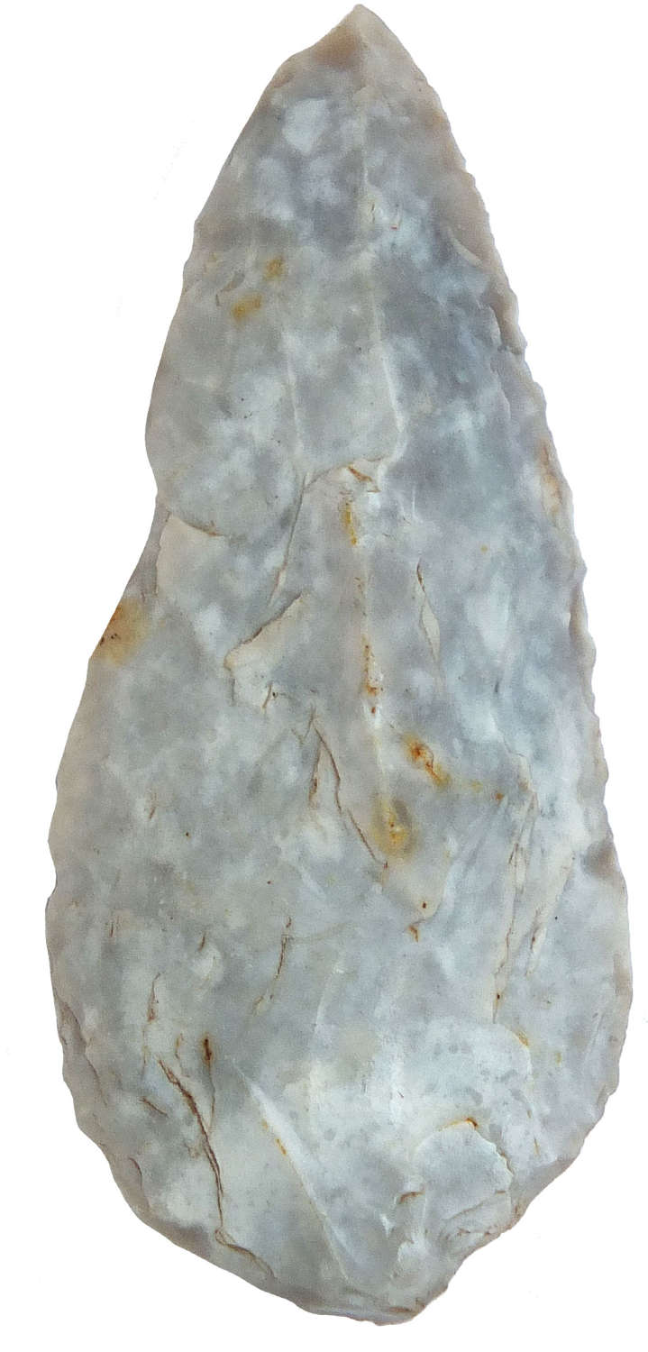 A good-sized Neolithic flint arrowhead found on the Yorkshire Wolds