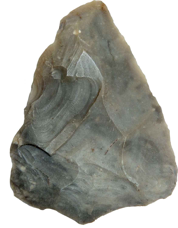 A Neolithic triangular flint point found at North Stow, Suffolk