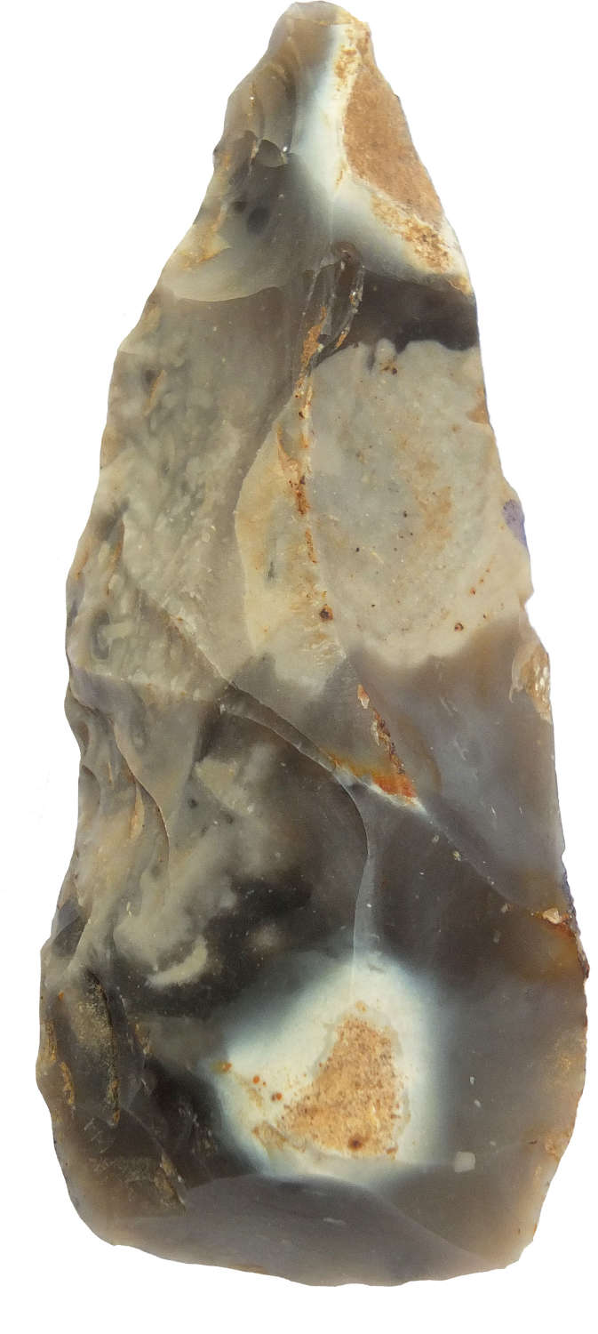 A small flint point or chisel found at Moreuil, Somme, northern France