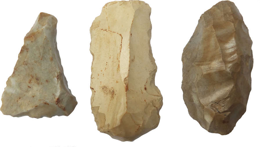A group of three Neolithic to Early Bronze Age flint tools, France