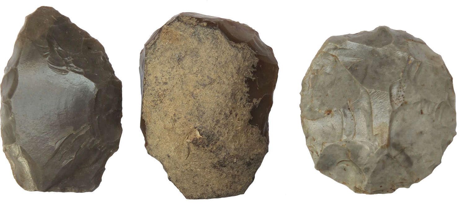 A group of three Neolithic flint scrapers from France, c. 3000 B.C.