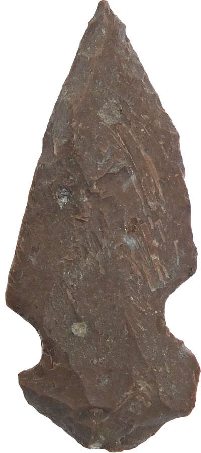 A North American Indian red-brown chert arrowhead