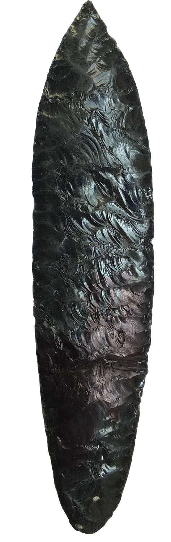A fine Mayan bifacially flaked obsidian knife, Guatemala, c. 400 A.D.