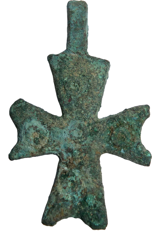 A Byzantine bronze pendant cross, c. 7th - 8th Century A.D.