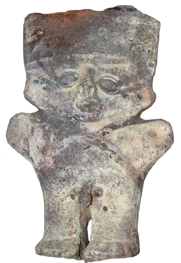 A large Chancay standing pottery male figure, Peru, c. 1300 A.D.