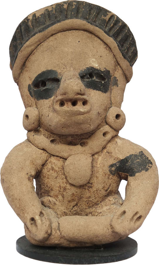 A Mexican Vera Cruz terracotta seated warrior figure, c. 400-600 A.D.