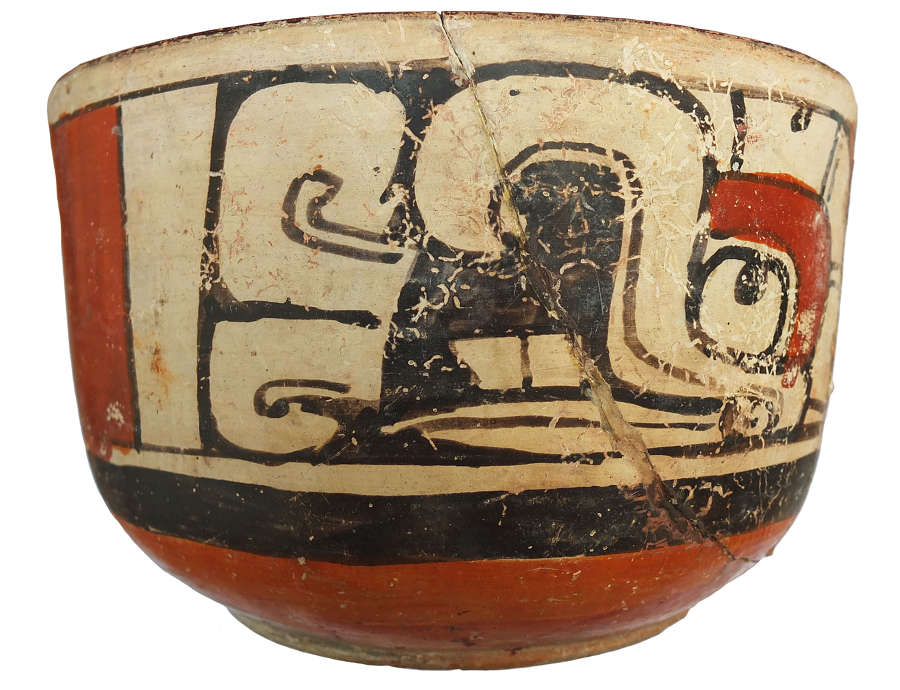 An exhibited and published Mayan decorated bowl, c. 600-900 A.D.
