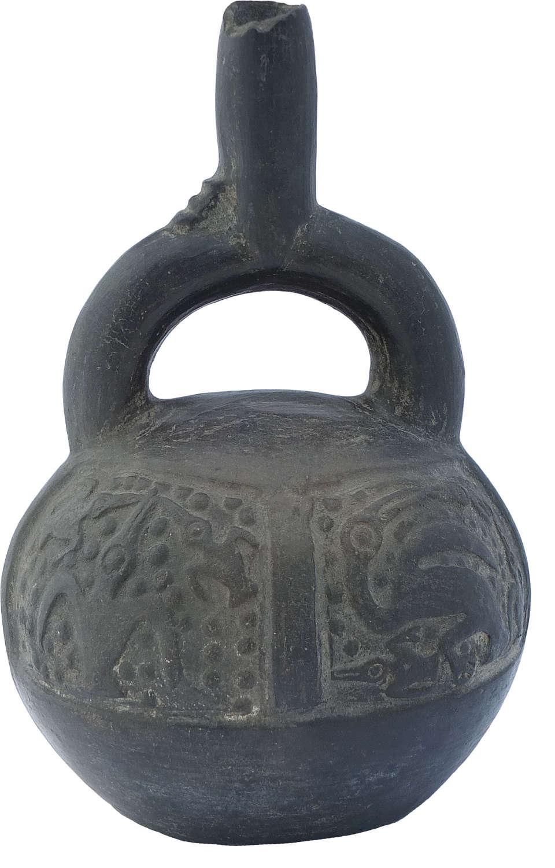 A Chimu burnished black pottery stirrup vessel, Peru, c. 900-1400 A.D.