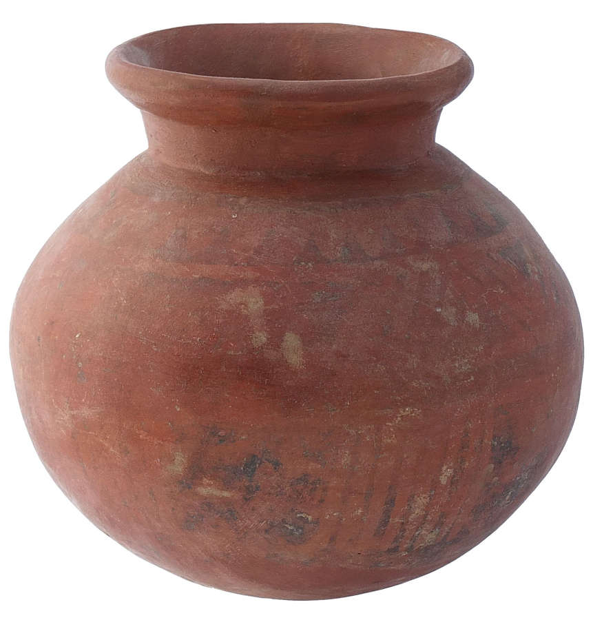 A good-sized Chiriqui red ware olla, Panama, c. 800-1200 A.D.