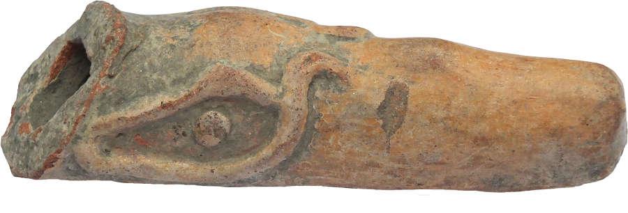 An orange terracotta head of a toucan, Esmeraldas, Coastal Ecuador