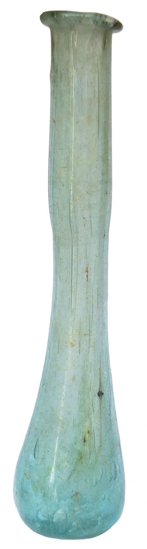 A Roman pale blue glass unguentarium found in Palestine