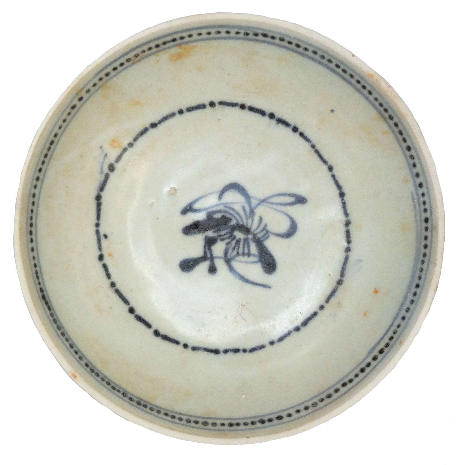A Chinese Tek Sing shipwreck blue and white porcelain saucer