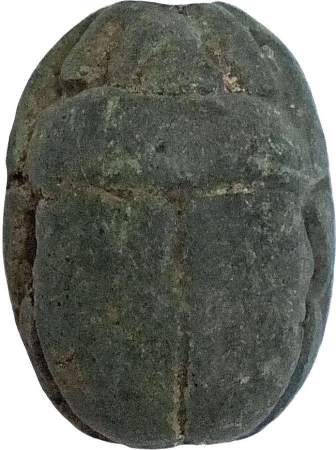 An Egyptian blue steatite scarab, c. 2nd Millennium B.C.