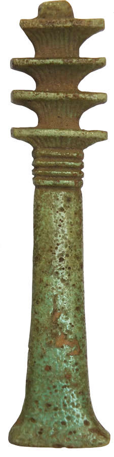 An unusually large Egyptian Djed column amulet, c. 730-300 B.C.