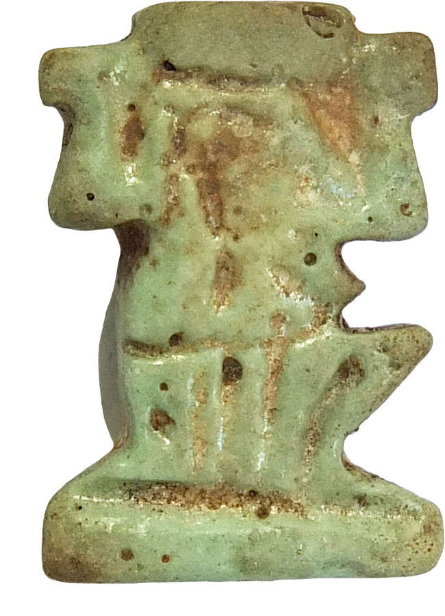 An Egyptian pale blue faience Shu amulet, c. 730-300 B.C.