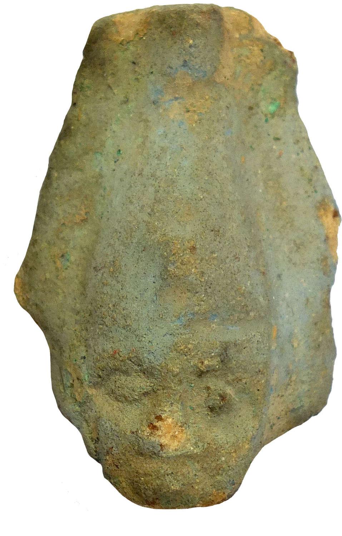 An Egyptian faience head fragment of Osiris, c. 730-300 B.C.