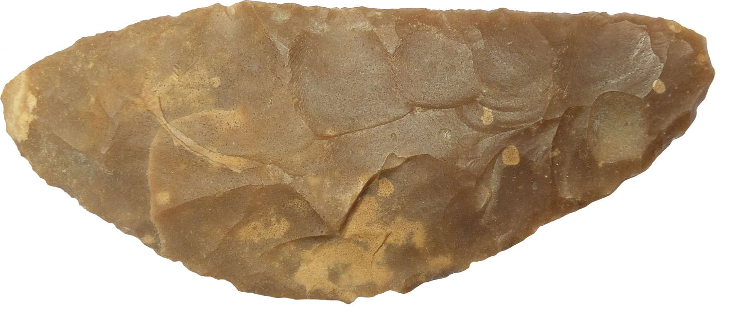 A Precolumbian bifacially flaked flint sickle from South America